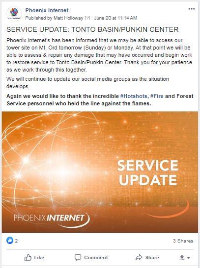 Tonto Bushfire update 6-20